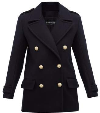 Balmain Double Breasted Felted Virgin Wool Coat - Womens - Navy