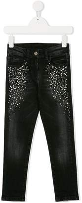MonnaLisa embellished faded jeans