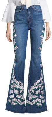 Alice + Olivia AO.LA by Floral Embroidered Bell-Leg Jeans