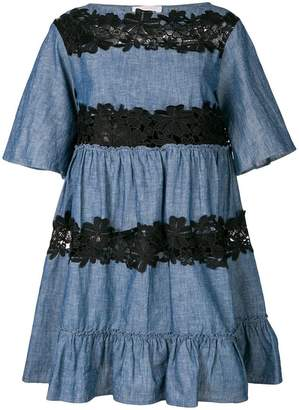See by Chloe lace insert chambray dress
