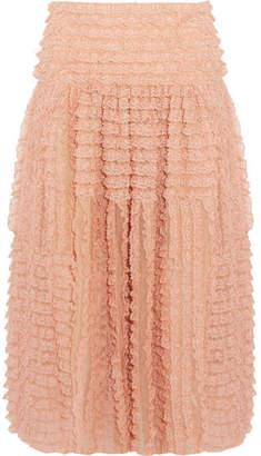 Chloé Ruffled Lace-trimmed Silk-organza Midi Skirt - Peach
