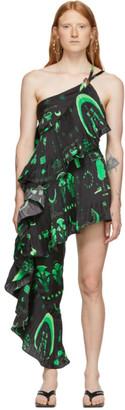 Marine Serre Black and Green Asymmetric Hybrid Flamenco Dress