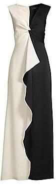 BCBGMAXAZRIA Women's Colorblock Twist Front Ruffle Gown - Size 0