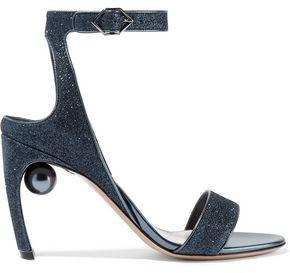 Nicholas Kirkwood Lola Embellished Glittered Faux Leather Sandals