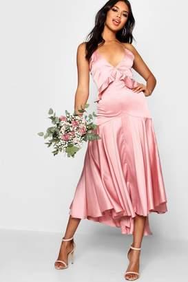 boohoo Boutique Satin Dip Hem Ruffle Detail Dress