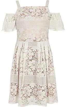 River Island Girls cream lace cold shoulder dress