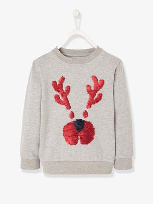 Vertbaudet Christmas Sweatshirt for Boys, with Reindeer and Reversible Sequins