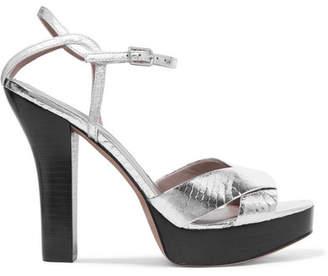 Diane von Furstenberg Tatum Metallic Elaphe Platform Sandals - Silver