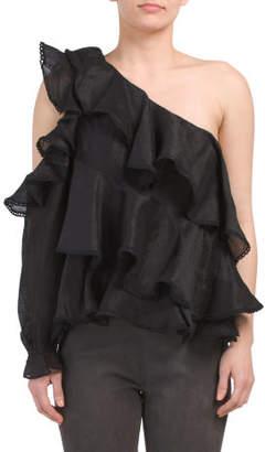 Recycled Martha Ruffle Linen Blend Top