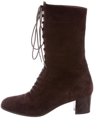 pradaPrada Suede Lace-Up Boots