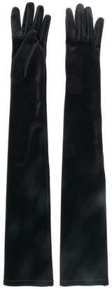 Alberta Ferretti velvet elbow length gloves