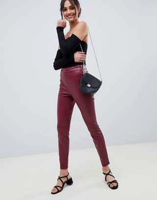 Miss Selfridge faux leather skinny pants in burgundy