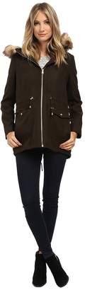 Jessica Simpson Melton Touch Anorak Coat with Faux Fur Women's Coat