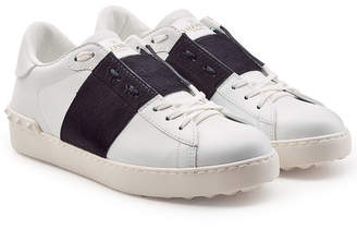 Valentino Open Leather Sneakers with Pony Hair