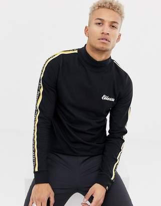 Ellesse Adovardo Long Sleeve T-Shirt With Sleeve Stripe Taping In Black