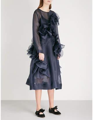 ROBERTS WOOD Floral-embellished silk dress
