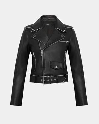 Theory Leather Shrunken Moto Jacket