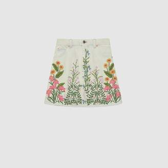 Gucci Denim skirt with flowers