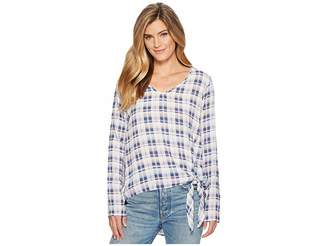 Mod-o-doc Printed Rayon Woven V-Neck Pullover Tie Front Blouse Women's Blouse
