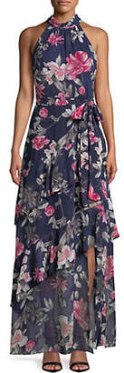 Eliza J Halter Neck Floral Print Tiered Maxi Dress