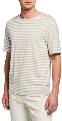 Vince Men's Short-Sleeve Striped Linen/Cotton T-Shirt