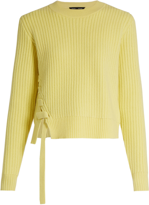 Lace up-panel wool and cashmere-blend sweater