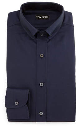 Tom Ford Button-Down Collar Solid Shirt, Blue