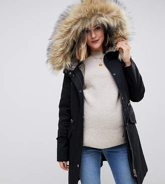 Asos DESIGN Maternity parka with detachable faux fur liner
