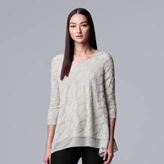 Vera Wang Petite Simply Vera Jacquard Handkerchief-Hem Top