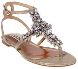 Badgley Mischka Cara II Embellished Metallic Leather Sandals