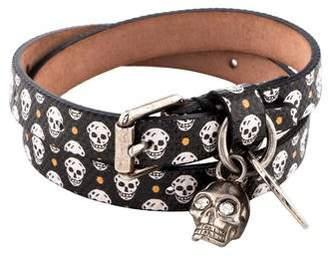 Alexander McQueen Skull Print Double Wrap Bracelet