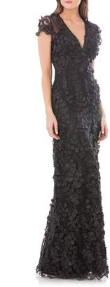 Carmen Marc Valvo Petals Embellished Gown