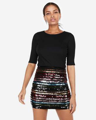 Express High Waisted Double Stripe Sequin Mini Skirt