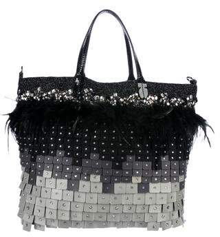 Valentino Feather-Trimmed Embellished Tote