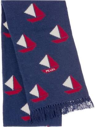 Prada boat intarsia scarf