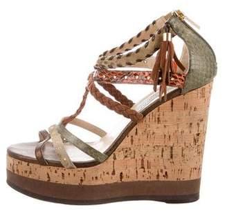 Jimmy Choo Python-Trimmed Wedge Sandals