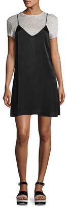 Kendall + Kylie Satin Slip & T-Shirt Combo Dress, Black/Gray $195 thestylecure.com