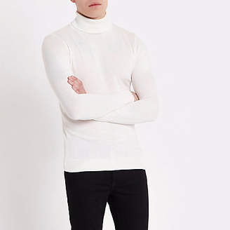 River Island Cream slim fit roll neck sweater