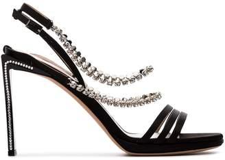 Ballin Alchimia Di black Mya 100 crystal embellished silk satin sandals