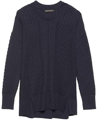 Banana Republic Wool-Cotton Blend Cable-Knit Sweater Tunic