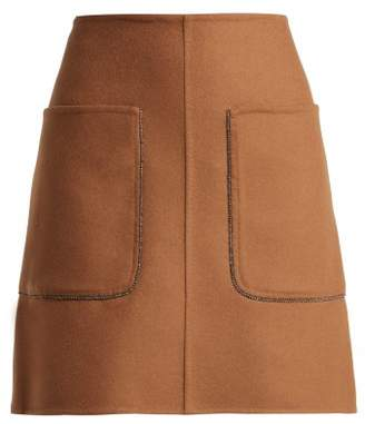 No.21 No. 21 - Crystal Embellished Wool Blend Mini Skirt - Womens - Camel