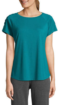 ST. JOHN'S BAY SJB ACTIVE Active Short Sleeve Round Neck Floral T-Shirt-Womens