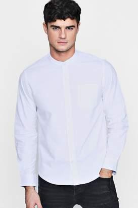 boohoo Long Sleeve Grandad Collar Oxford Shirt