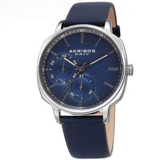Akribos XXIV Silver Tone Casual Quartz Watch With Leather Strap [AK1022BU]