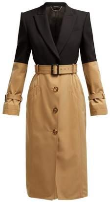 Alexander McQueen Blazer Panel Trench Coat - Womens - Black Multi