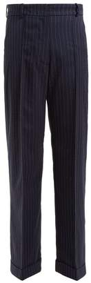 Racil - Charlie Pinstripe Wool Blend Trousers - Womens - Navy