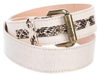 Just Cavalli Embossed-Leather-Accented Metallic Waist Belt