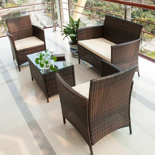 Merax 4 Piece Deep Seating Group with Cushion