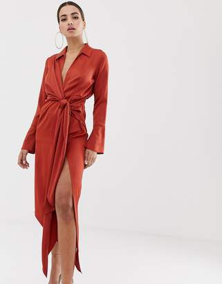 Asos Design DESIGN midi satin shirt dress with tie waist