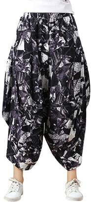 Shaoyao Womens Bohemian Elastic Waist Wide Leg Pants Plus Size Capris Palazzo Trousers Hippy Boho Style 13